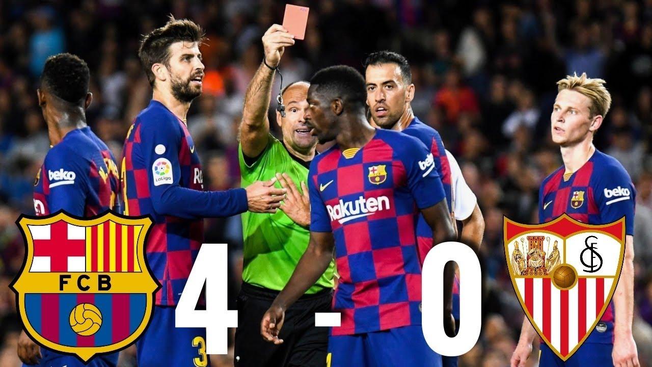 ดูบอลย้อนหลัง บาร์เซโลน่า 4-0 เซบีย่า ไฮไลท์บอลลาลีกา สเปน